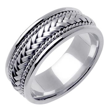 Hand Braided Men's Wedding Band in 14K White Gold 8.0mm WB1015
