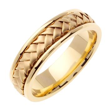 Hand Braided Mens Wedding Band in 18K Yellow Gold 7.0mm WB1023