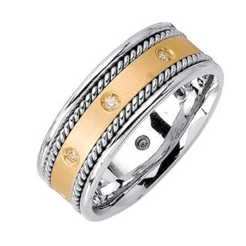 8.5mm  Mens Two Tone Diamond Wedding Bands WB55_2726
