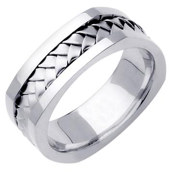 Hand Braided Mens Wedding Band in 14K White Gold 7.5mm WB1028