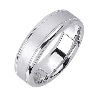 Handmade Sandblasted Mens Wedding Band in Platinum 6.5mm WB1190