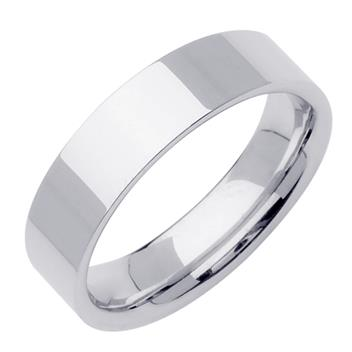 Comfort Fit Top Flat Mens Wedding Band in 14K White Gold 7.0mm WB1269