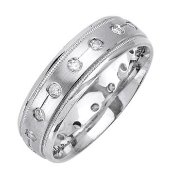 7mm Mens White Gold Diamond Wedding Bands WB38_2241