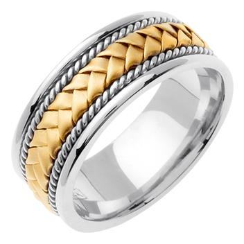 Hand Braided Men's Wedding Band Two Tone in 18K Yellow and White Gold 8.5mm WB1008