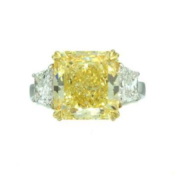 8.93ct Fancy Intense Yellow Cushion Cut Diamond Ring 973-1D