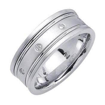 8mm Mens White Gold Diamond Wedding Bands WB64_2743