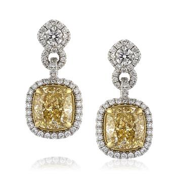 6.11ct Fancy Yellow Cushion Cut Diamond Dangle Earrings 3215-1D375626