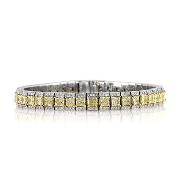 13.05ct Fancy Yellow Princess Cut Diamond Tennis Bracelet 3023-1D24744545