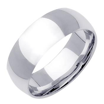 Comfort Fit Plain Mens Wedding Band in Platinum 8.0mm WB1226