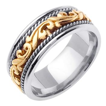 Hand Braided Two Tone Mens Wedding Band in 18K Yellow and White Gold 9.0mm WB1045