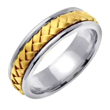 Hand Braided Mens Wedding Band Two Tone in 14K White and Yellow Gold 7.0mm WB1030