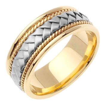 8.5mm Hand Braided Men's Wedding Band Two Tone in 18K Yellow and White Gold WB1010